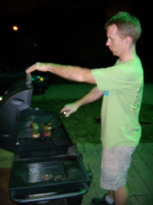 The Grillmaster hard at work
