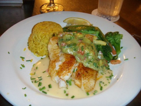 blackened grouper with avocado & key lime sauce