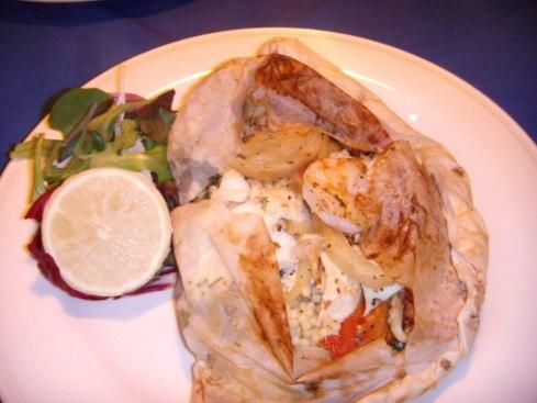 rockfish & shrimp baked in parchment