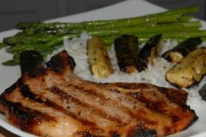 caribbea pork chops with veggies