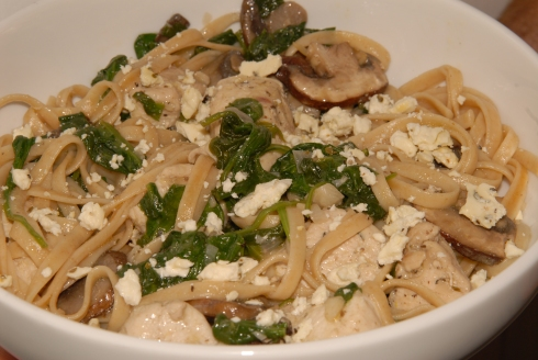 sauteed chicken, spinach, & pasta